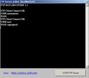 результат восстановления пароля из фтп клиента