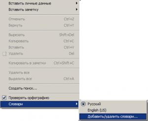 добавление словаря для проверки русского языка